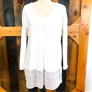 Cloud chaser top with sheer embroidered accents